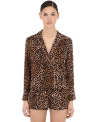 Love Stories Leopard Printed Pyjama Shirt - Brown