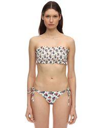 Tory Burch Floral Print Stretch Bandeau Bikini Top - Mehrfarbig