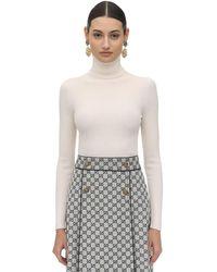 Gucci Back Logo Wool Knit Turtleneck Jumper - White