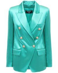 Balmain シルクサテンジャケット - ブルー
