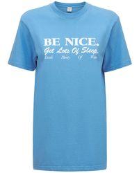 "Sporty & Rich T-shirt Aus Baumwolle ""be Nice"" - Blau"