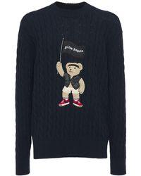 Palm Angels Sweater Aus Baumwollzopfstrick - Blau
