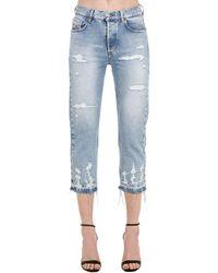 DIESEL Aryel Distressed Cotton Denim Jeans - Blue