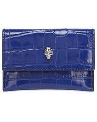 Alexander McQueen Porte-cartes Enveloppe Estampé Croco - Bleu