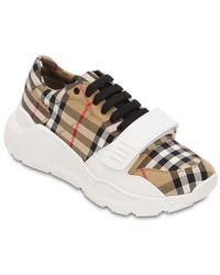 "Burberry 30mm Hohe Sneakers Aus Baumwollcanvas ""regis"" - Natur"