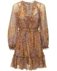 Zimmermann - Мини-платье Из Шелкового Шифона - Lyst