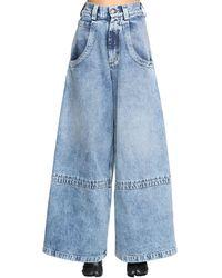 Maison Margiela Panelled-hem Flared Leg Trousers - Blue