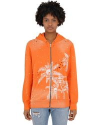 DOMREBEL Palm Skull Zip-up Sweatshirt Hoodie - Orange