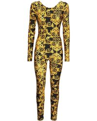 Versace Jeans Couture Tuta In Jersey Stampato Stretch - Giallo
