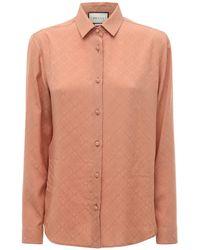 Gucci Рубашка Из Шёлкового Крепа - Розовый