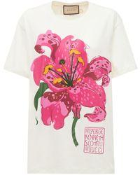 Gucci T-shirt En Jersey De Coton Imprimé Floral - Blanc