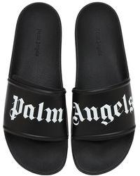 Palm Angels Pantoletten mit Logo-Print - Schwarz
