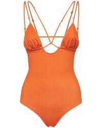 Jacquemus Deep V Neckline One Piece Swimsuit - Orange