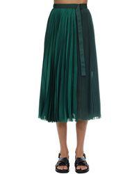 Sacai Плиссированная Юбка С Завышенной Талией - Зеленый