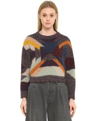 Isabel Marant - Intarsia Wool Mohair Cropped Jumper - Lyst