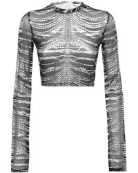 Area Cropped Crystal Print Mesh Top - Multicolour
