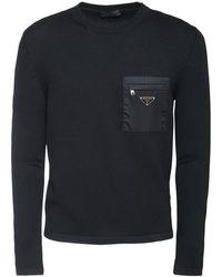 Prada Wollpullover Mit Nylontasche Und Logopatch - Schwarz