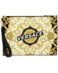 Versace - Logo Baroque Print Leather Pouch - Lyst