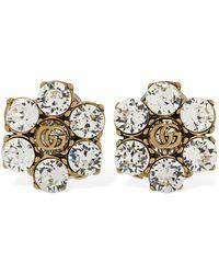 Gucci Gg Marmont Stud Earrings W/ Crystal - Metallic