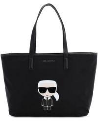 "Karl Lagerfeld Сумка Из Канвас ""k/ikonik"" С Принтом - Черный"