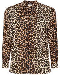 Saint Laurent Рубашка Из Шелка С Леопардовым Принтом - Коричневый