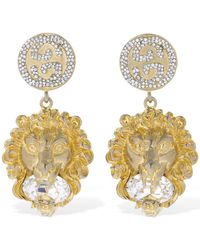 Gucci Lion Head Crystal Clip-on Earrings - Mettallic