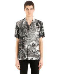 Just Cavalli - Printed Fluid Viscose Short Sleeve Shirt - Lyst