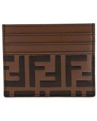 Fendi - Ff Embossed Leather Card Holder - Lyst