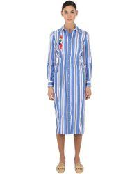 Stella Jean - Hemdkleid Aus Baumwolle Mit Verzierung - Lyst