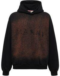 Marni Oversize Logo Print Cotton Jersey Hoodie - Black