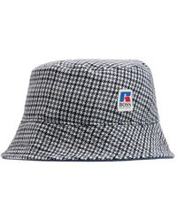 BOSS x Russell Athletic Logo Checkered Bucket Hat - Gray
