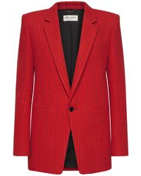 Saint Laurent Einreihiges Wolljackett Mit Streifen - Rot
