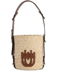 Miu Miu Faux Raffia Bucket Bag W/ Leather Strap - Natural