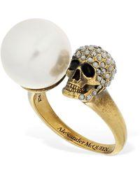 Alexander McQueen Crystal Pearl Skull Ring - Metallic