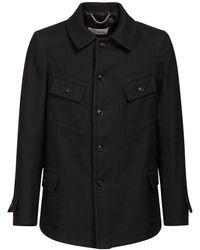 Maison Margiela ウール&コットンブレンドジャケット - ブラック