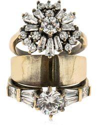Iosselliani Stacked Ring W/ Crystals - Metallic