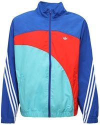adidas Originals Off Center Nylon Windbreaker Jacket - Blue