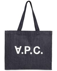 A.P.C. Md Logo Printed Cotton Denim Tote Bag - Blue