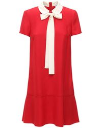 RED Valentino クレープサテンミニドレス - レッド