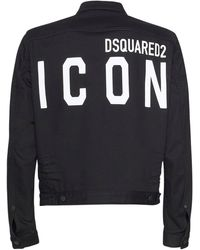 DSquared² Jacke Aus Stretch-denim Mit Logodruck - Schwarz