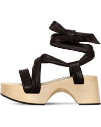 Jil Sander 70mm Wooden Wedge Leather Wrap Sandals - Brown