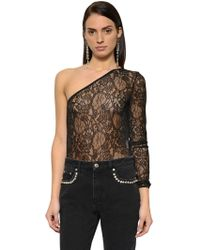 MSGM - One Sleeve Lace Bodysuit - Lyst