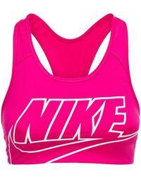 "Nike Mittelstark Stützender Sport-bh "" Swoosh"" - Pink"