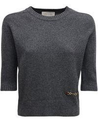 Gucci Трикотажный Топ Из Кашемира - Серый