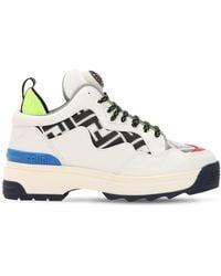 Fendi 50mm Logo Leather Sneakers - White