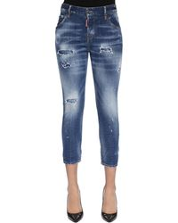DSquared² Cool Girl Cropped Destroyed Denim Jeans - Blue