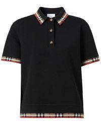 Burberry チェックトリム ポロシャツ - ブラック