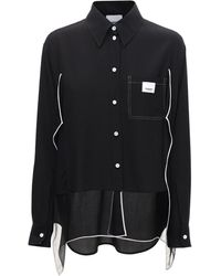 Burberry シルクサテンシャツ - ブラック