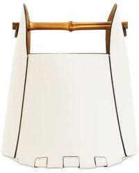 Loewe Beuteltasche Aus Leder Mit Bambus - Weiß