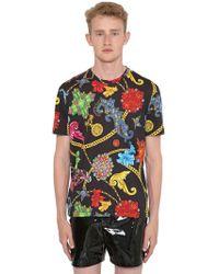 Versace - T-shirt Aus Baumwolljersey Mit Druck - Lyst